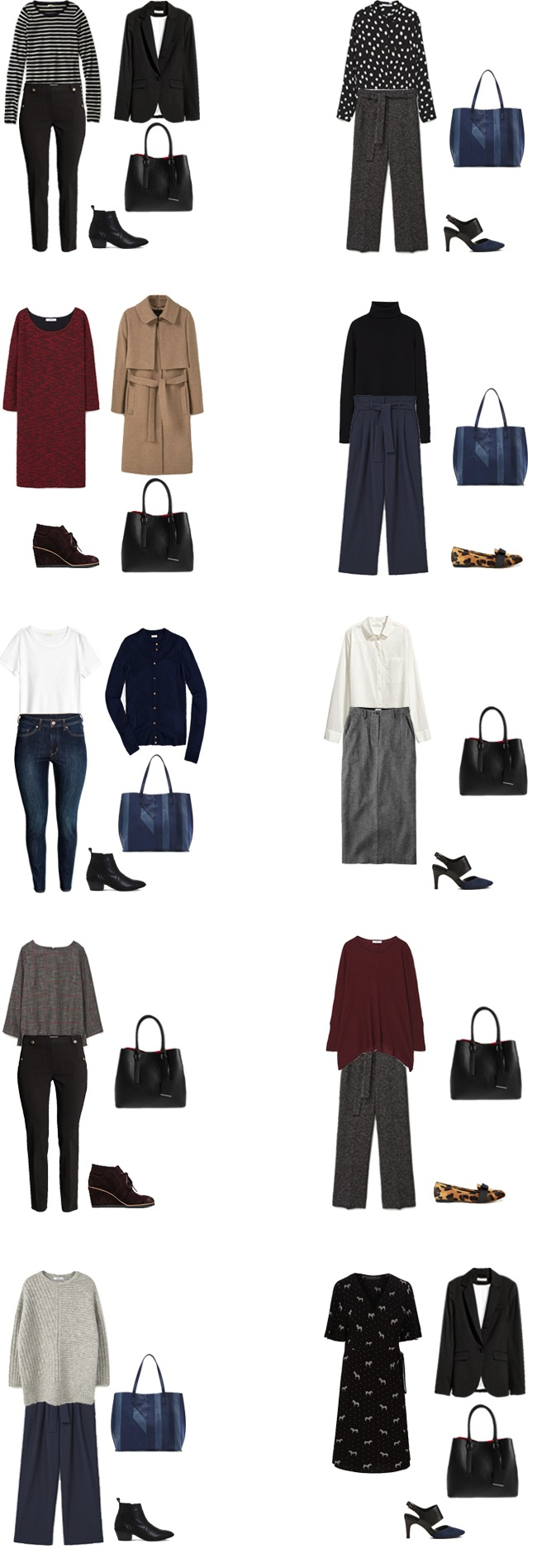 Fall Winter Work Capsule Wardrobe Outfit Options