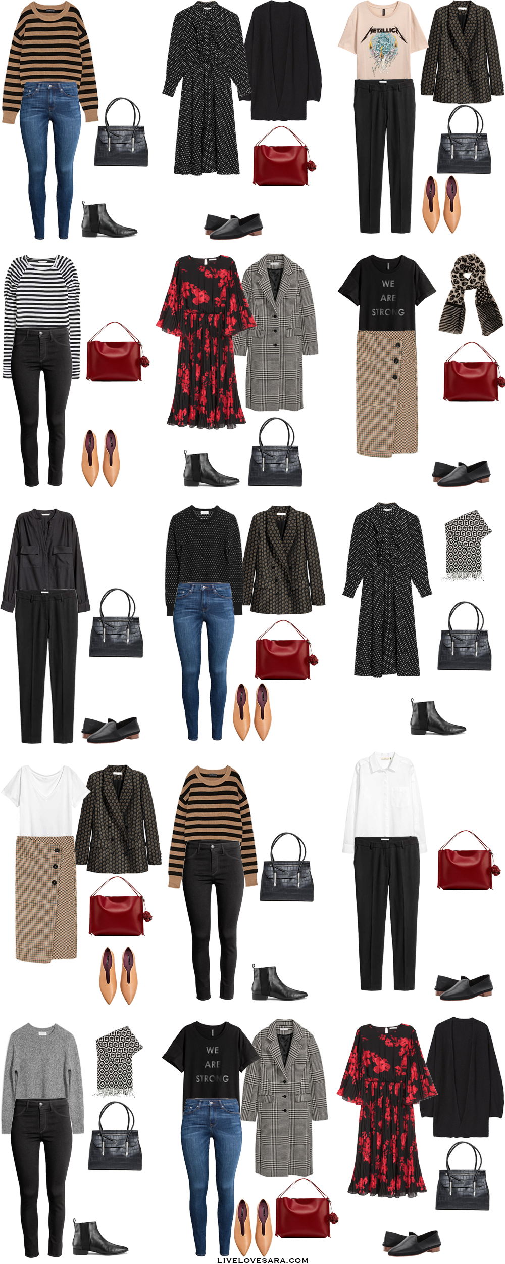 An Interchangeable Work Capsule Wardrobe A Month Of